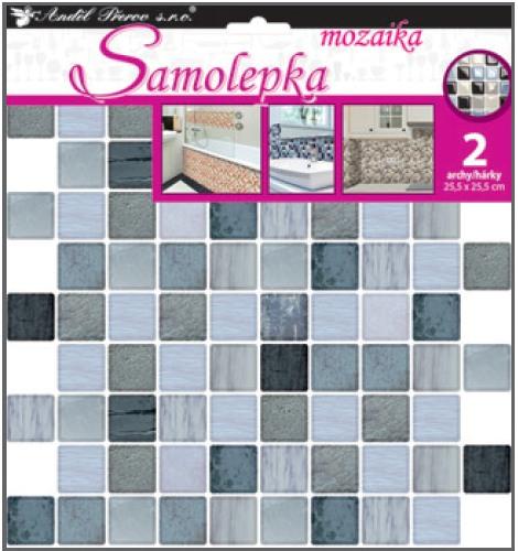 Samolepka na stěnu mozaika plastická, imitace obkladů, 2 archy 25,5 x 25,5 cm
