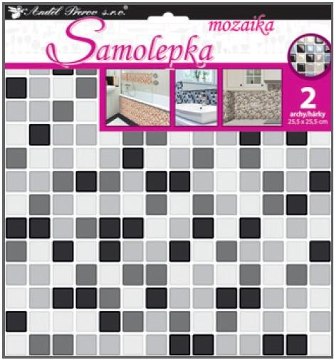 Samolepka na stěnu mozaika plastická, imitace obkladů, 2 archy 25,5 x 25,5 cm (10204)