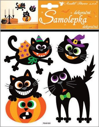 Halloween samolepky  kočky 23x18 cm