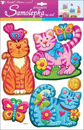 Samolepky na stěnu kočky plastické 42x28 cm (10219)