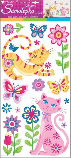Samolepky na stěnu kočky s glitry 60x32 cm (10225)