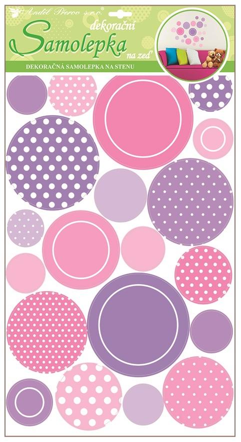 Samolepky na stěnu lila kolečka s glitry 60x32 cm