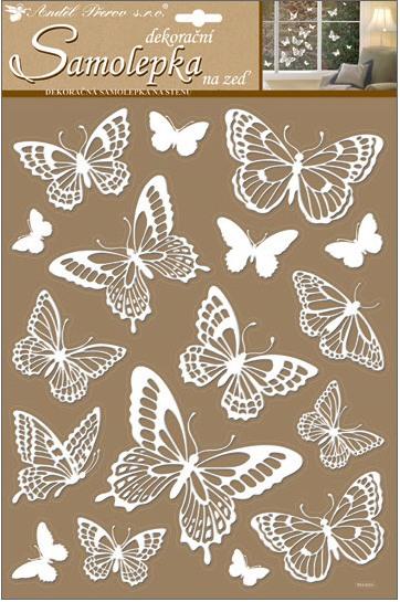 Samolepky na stěnu bílí motýli s glitry 41x28 cm