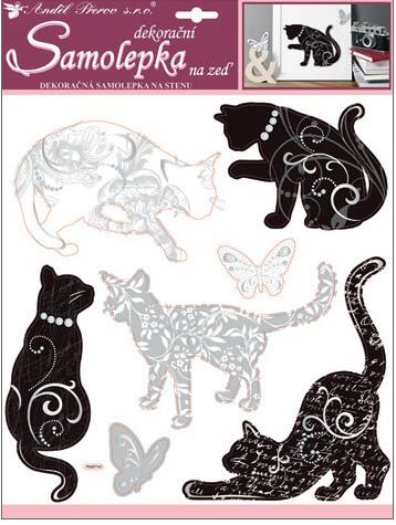 Samolepky na stěnu kočky se stříbrným dekorem 38x31 cm