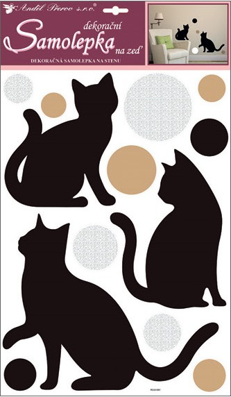 Samolepky na stěnu kočky a kolečka s glitry 49x30 cm (10229)