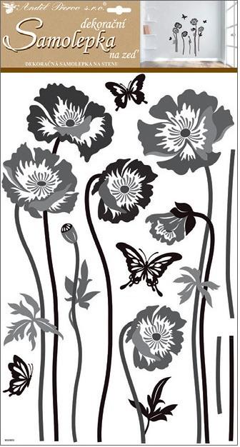 Samolepky na stěnu černošedé květiny 60x32 cm (10230)