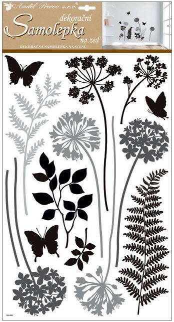 Samolepky na stěnu černošedé kapradiny 60x32 cm (10231)