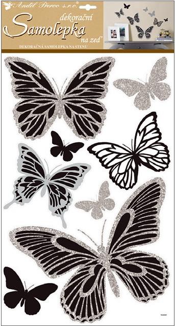 Samolepky na stěnu motýli se stříbrnými glitry 60x32 cm