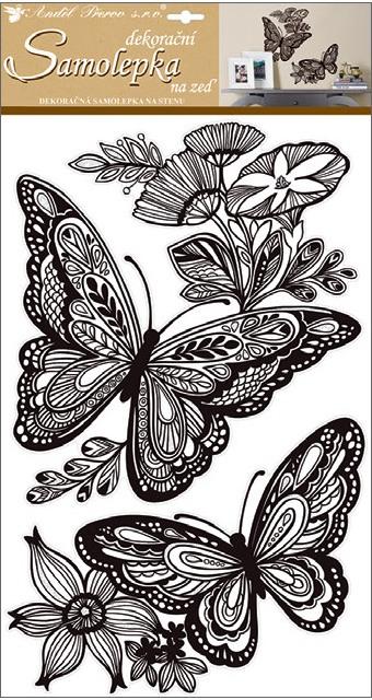 Samolepky na stěnu mandala motýli s glitry 60x32 cm (10233)
