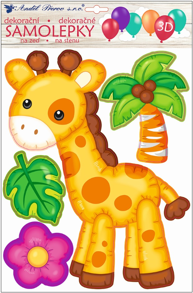 Samolepka na stěnu 3D balónková žirafa 35 x 27 cm