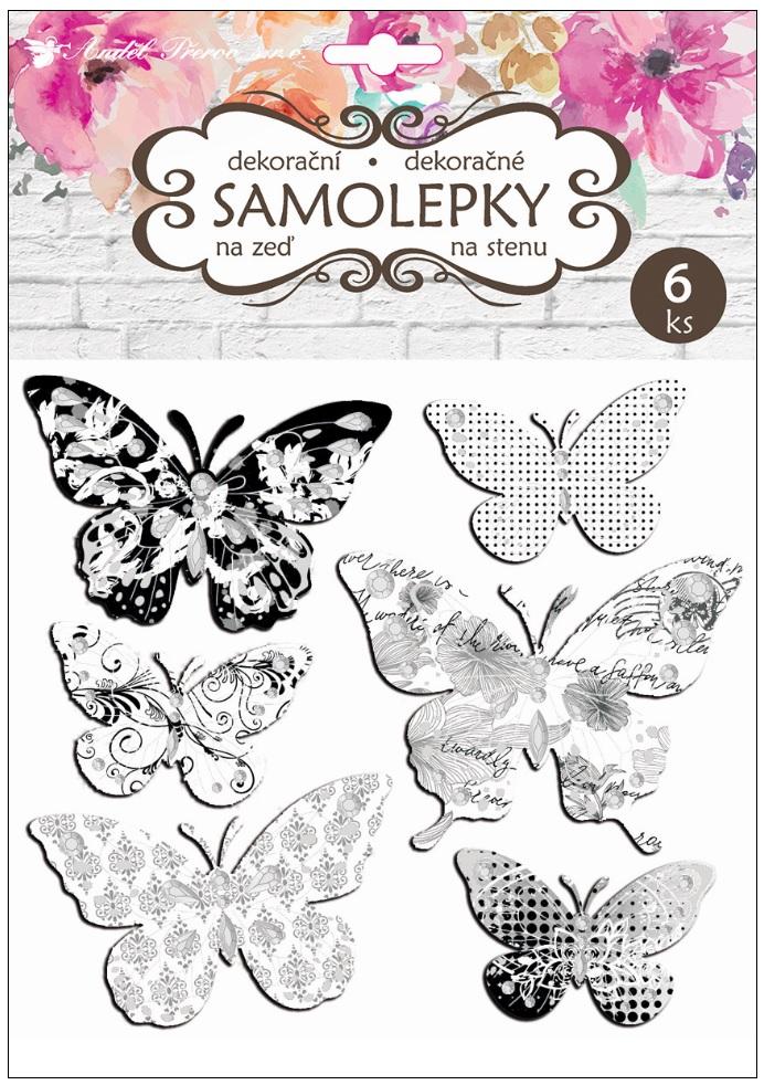 Samolepky na stěnu motýli se stříbrou ražbou 21 x 19 cm