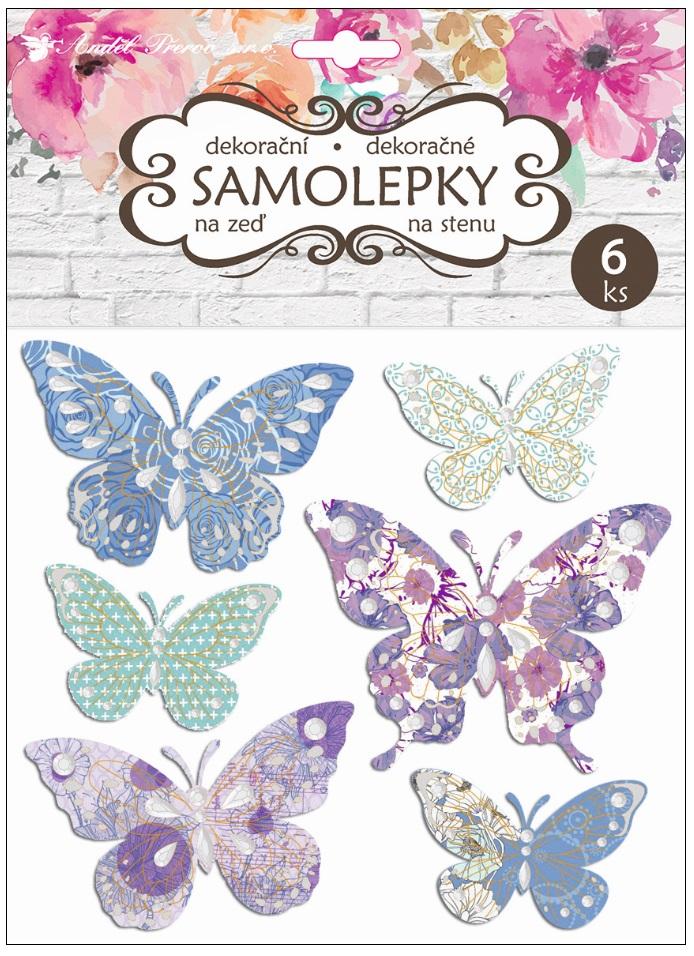 Samolepky na stěnu motýli se stříbrnou ražbou 21 x 19 cm