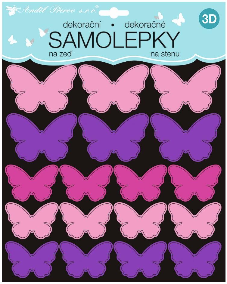 Samolepky na stěnu 3D růžovofialoví motýli 2 archy 35 ks 25x16 cm+25x25cm (10277