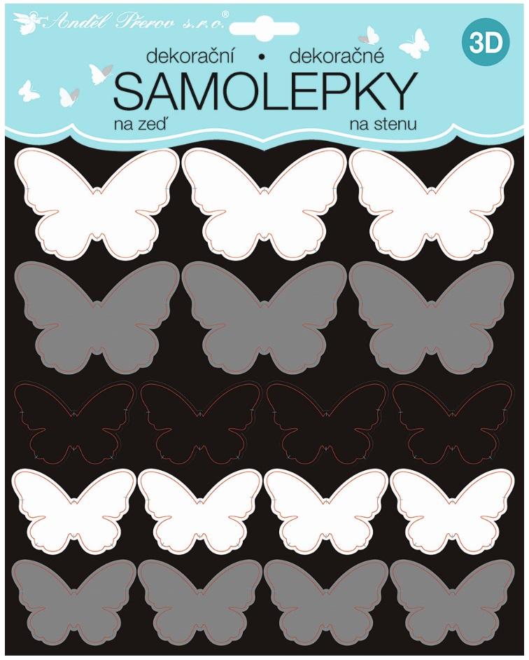 Samolepky na stěnu 3D černostříbrní motýli 2 archy 35 ks 25x16 cm+25x25cm