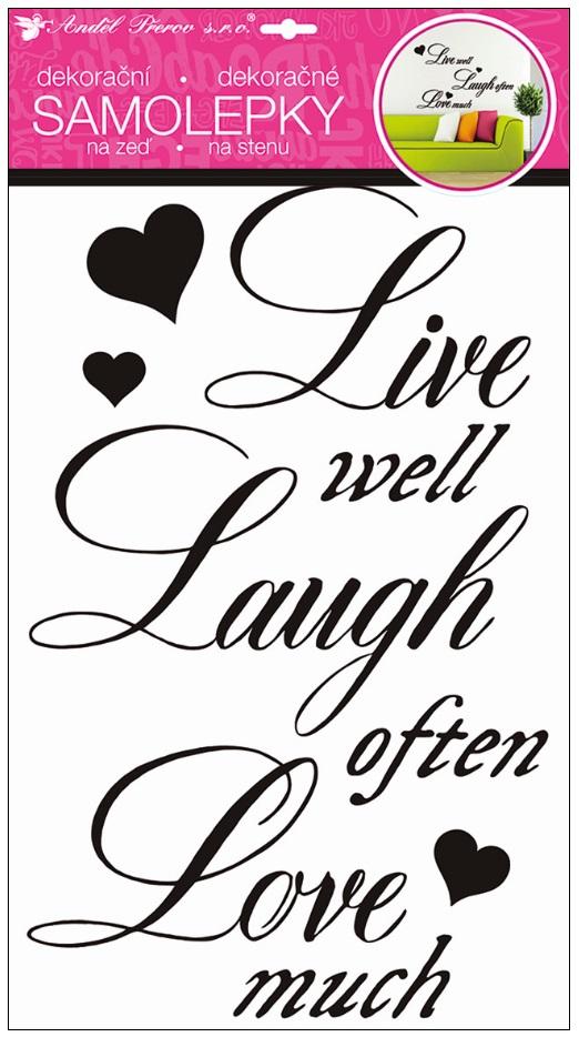 Samolepky na stěnu nápis Žít, smát se, milovat 50 x 32 cm