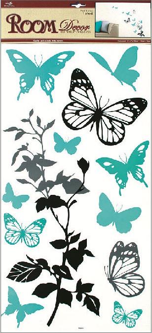 Samolepky na stěnu černošedá s tyrkysovými motýly, 60x32cm (1030)