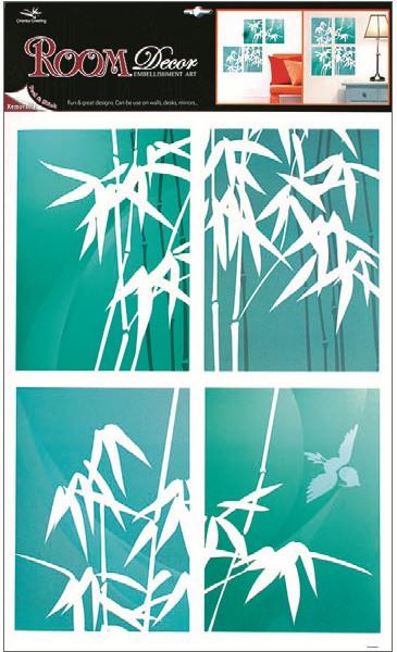 Samolepky na stěnu bambus, zelenomodré 4 obdelníky, 60x42cm