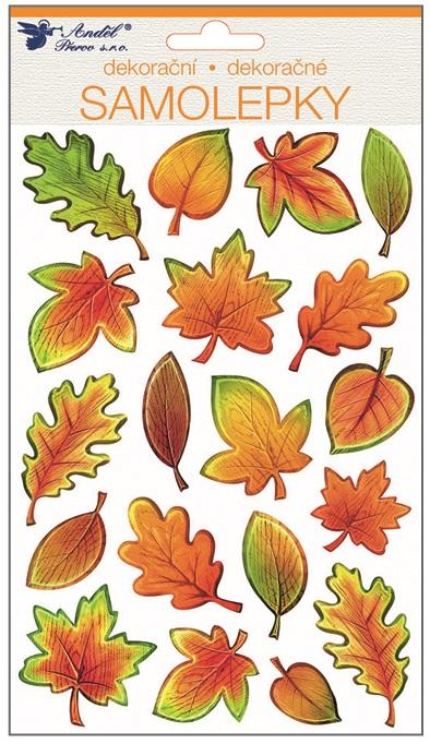 Samolepky plastické 25x14 cm, podzimní lístí (10400)