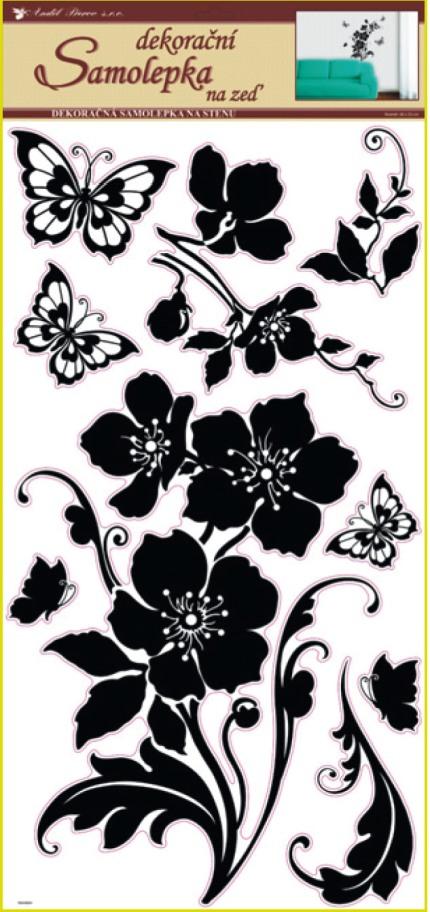 Samolepky na stěnu květina s motýly černá, 60x32cm