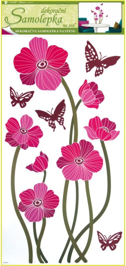 Samolepky na stěnu vlčí máky růžové s motýly, 60x32cm