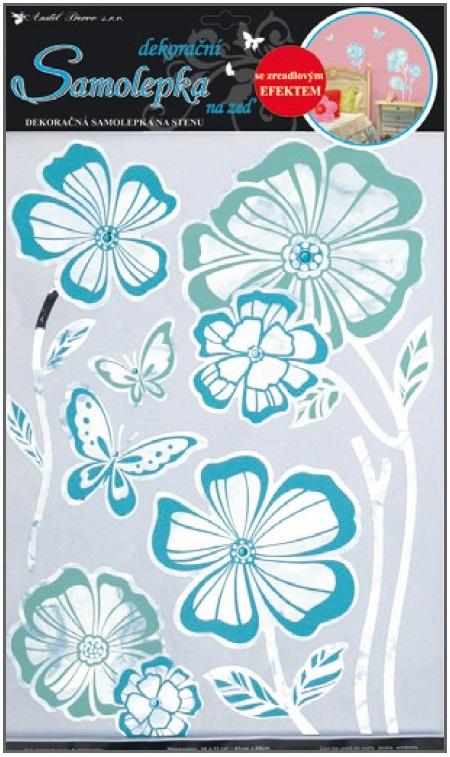 Samolepky na stěnu květy s modrou konturou zrcadlové, 41x29cm (1052)