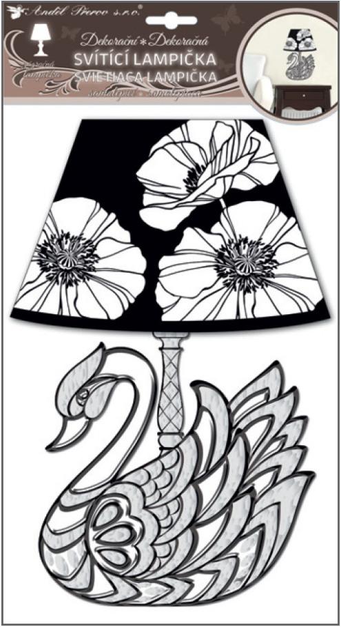 Svítící LED lampička samolepicí  labuť 31cm