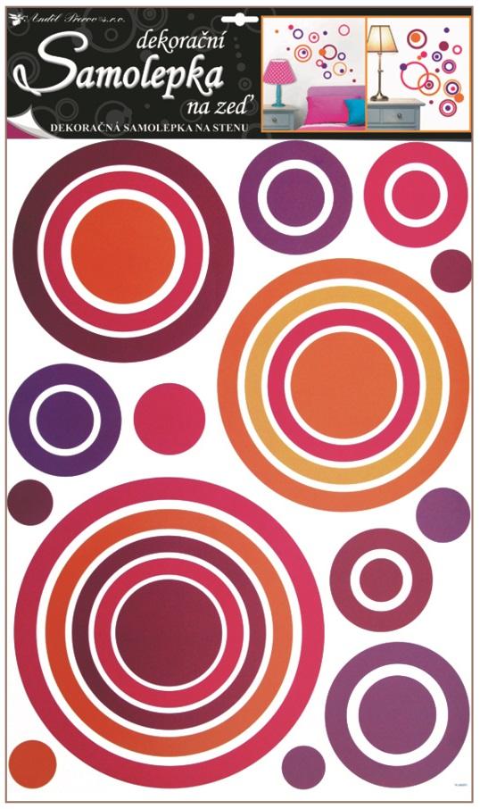 Samolepky na stěnu kruhy růžové, 60x42cm (1057)