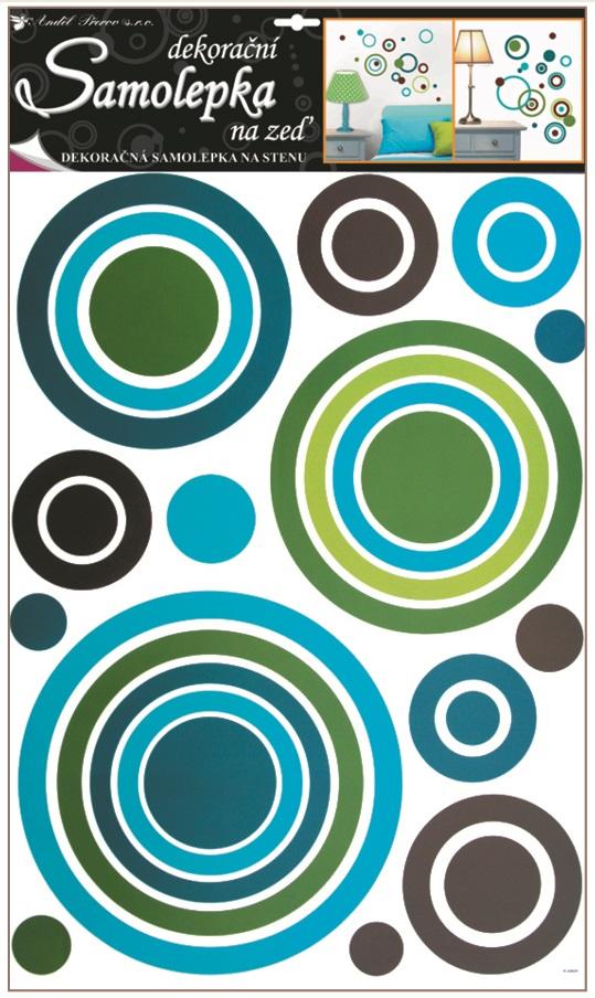 Samolepky na stěnu kruhy modré, 60x42cm (1058)