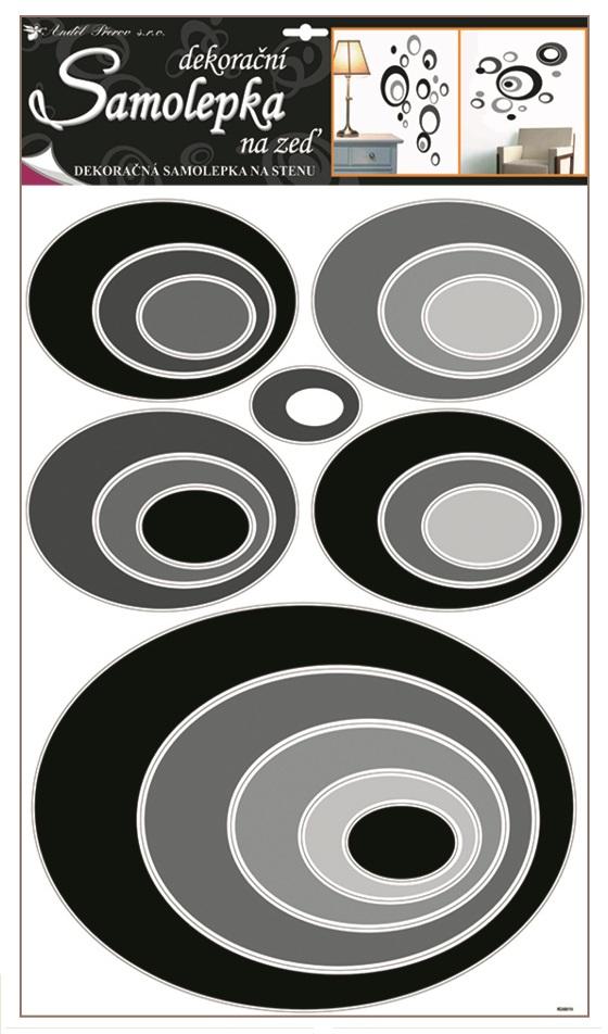 Samolepky na stěnu elipsy černé, 60x42cm (1059)