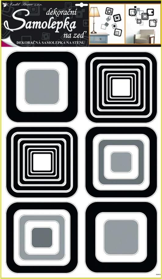 Samolepky na stěnu čtverce černé, 60x42cm (1062)