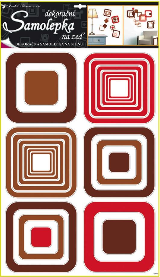 Samolepky na stěnu čtverce hnědé, 60x42cm (1063)