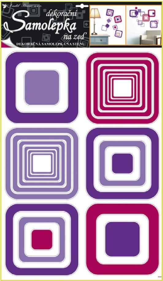 Samolepky na stěnu čtverce fialové, 60x42cm