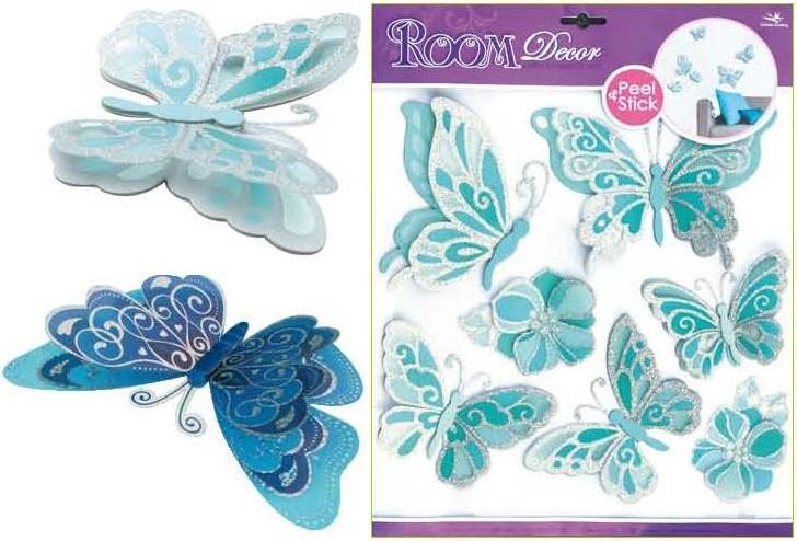 Samolepky na stěnu motýli světle modří se stříbrnými glitry, 30,5x30,5cm