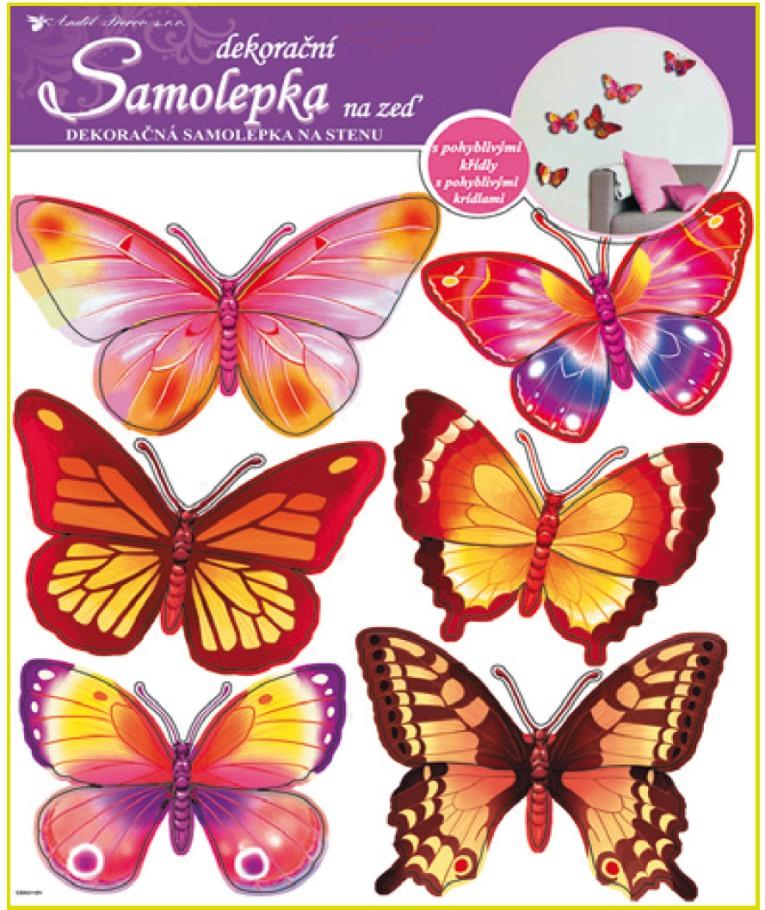 Samolepky na stěnu motýlci žlutí a růžoví hologram,30,5x30,5cm