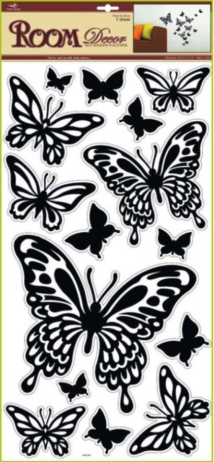 Samolepky na stěnu motýli černí, 60x32cm