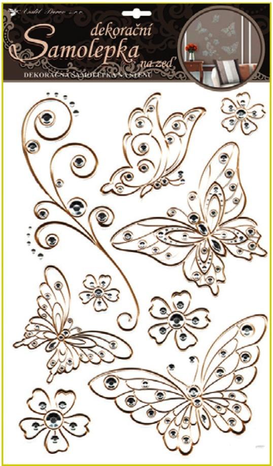 Samolepky na stěnu motýli se zlatou konturou a kamínky plastická 41x29cm