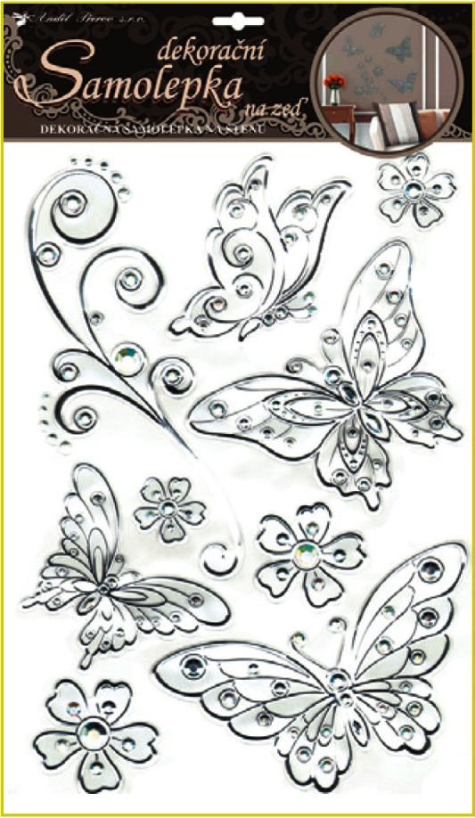 Samolepky na stěnu motýli se stříbrnou konturou a kamínky plastická 41x29cm