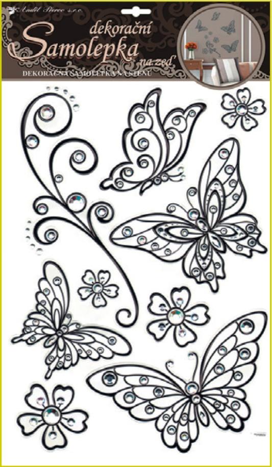Samolepky na stěnu motýli s černou konturou a kamínky plastická 41x29cm