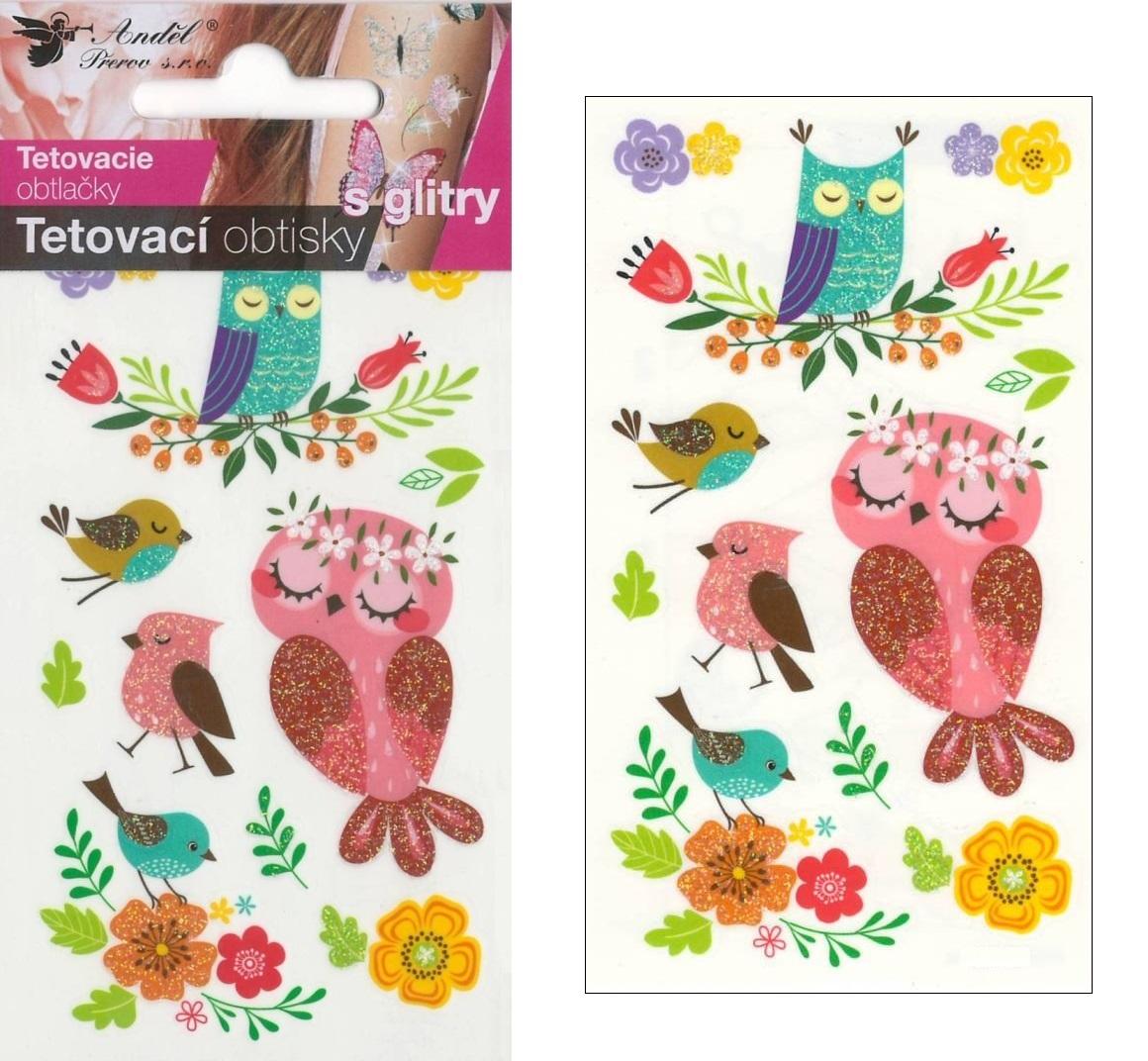 Obtisky tetovací s glitry 10,5x6 cm- sovy (1100)