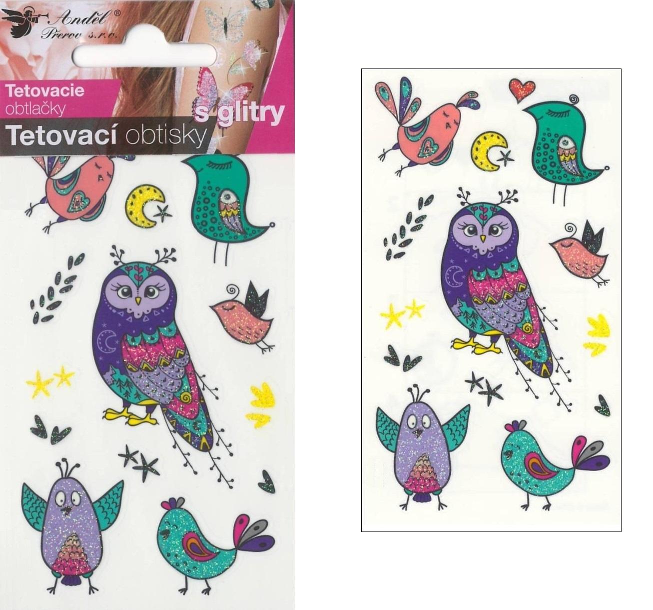 Obtisky tetovací s glitry 10,5x6 cm- ptáčci