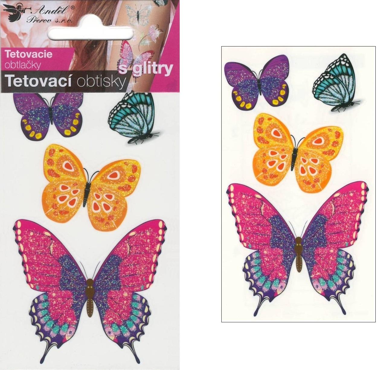 Obtisky tetovací s glitry 10,5x6 cm- motýli (1102)
