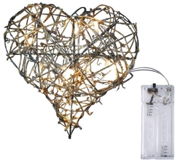 Srdce z proutí 20cm,10LED+30cm přívodní kabel