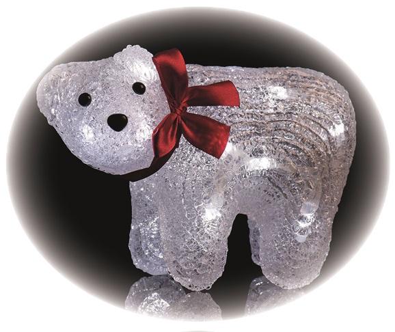 Medvěd lední 20,3x13,3cm-16 LED+5m přívodní kabel