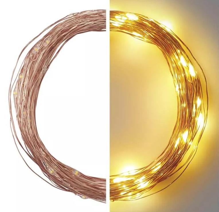 Osvětlení vánoční 10m-100 LED teplá bílá + 5m přívodní kabel