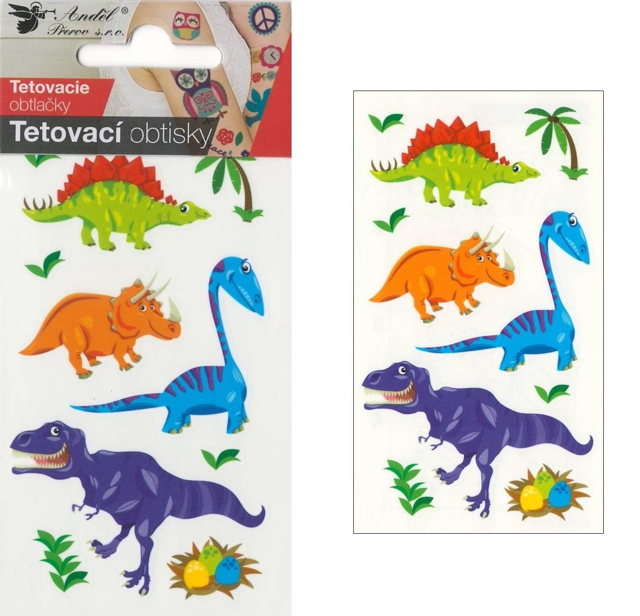 Obtisky tetovací 10,5x6 cm- malí dinosauři