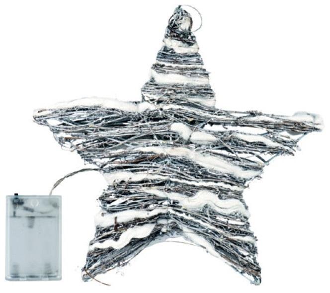 Hvězda proutěná 30x30x8cm, 30 LED studená bílá+30cm kabel-na baterie