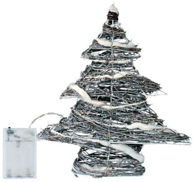 Stromek proutěný 30x30x8cm, 30 LED studená bílá+30cm kabel-na baterie