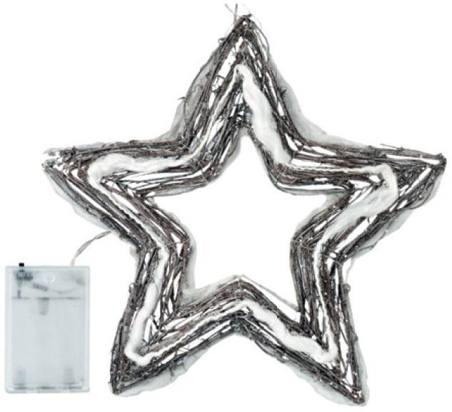 Hvězda proutěná vykrojená 40x40x4cm,20LED studená bílá+30cm kabel-na baterie