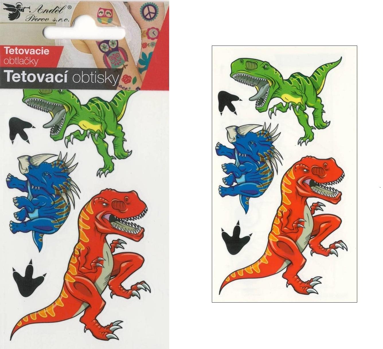 Obtisky tetovací 10,5x6 cm- velcí dinosauři