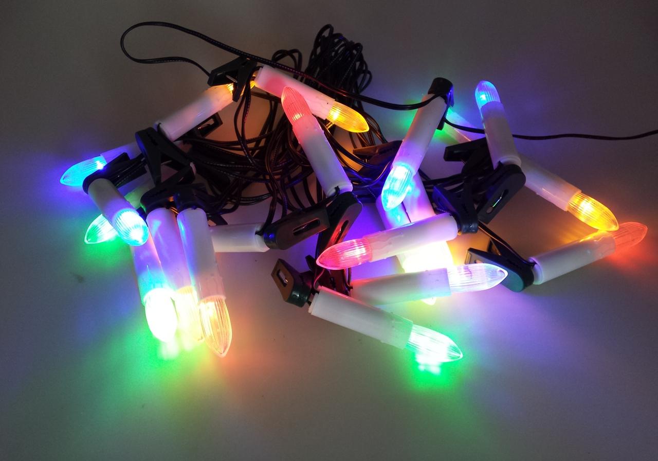 Osvětlení svíčky na klipu 7m-20LED barevná+ 7m přívodní kabel (11072)